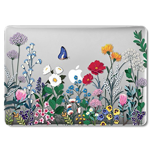 MacBook Air 13 Inch Case Older Version Compatible A1369/A1466 2008-2017 Release NO Touch ID, GMYLE Hard Plastic See Through Glossy Scratch Guard Cover for Apple Mac Air 13 - Springtime Floral Garden