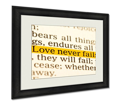 Ashley Framed Prints Love Never Fails Corinthians 13 Holy Bible, Wall Art Home Decoration, Color, 34x40 (frame size), AG5500753 by Ashley Framed Prints