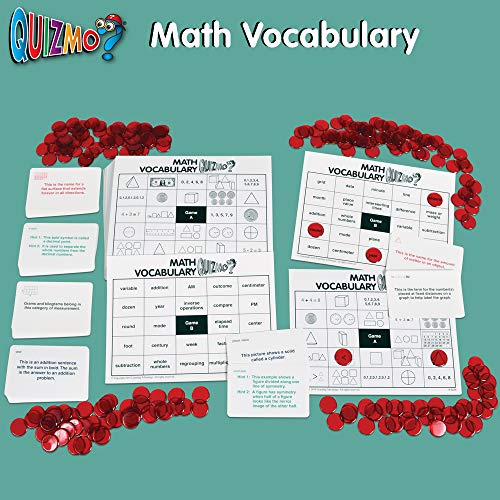 51pl0js%2BgyL - Learning Advantage QUIZMO Advanced Elementary Math Series - Set of 6 Bingo-Style Math Games for Kids - Teach Fractions, Decimals, Math Vocabulary, Geometry, Place Value and Integers