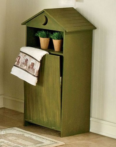 Wood Bathroom Laundry Hamper Distressed Sage
