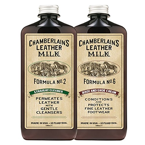 Leather Milk Leather Boot & Shoe Clean and Condition Kit (2 Bottle Set) - Straight Cleaner No. 2 | Boot & Shoe Cream No. 6 - All-Natural, Non-Toxic. Made in USA. Polish Pads Included.