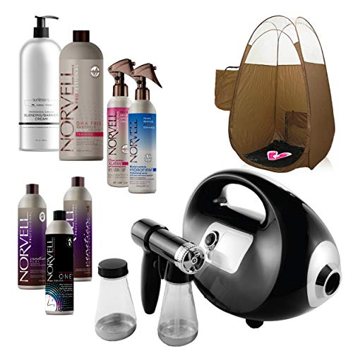 Fascination Spray Tan Machine System with Norvell Airbrush Tanning Solution Sunless Pro Kit Bundle and Bronze Pop Up Tent