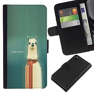 SHELLINA (No Para Z3 plus+ / Z3 compact) Foto Voltear Cuero Duro Funda Ranura Tarjeta TPU Carcasas Para Smartphone Sony Xperia Z3 D6603 / D6633 / D6643 / D6653 / D6616 - llama fría - funny