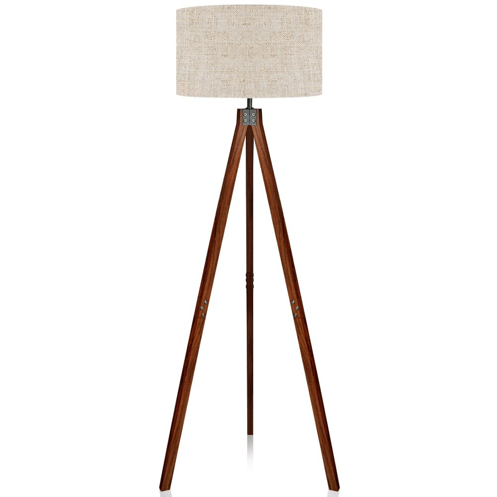 LEPOWER Wood Tripod Floor Lamp, Standing Lamp, Modern Design Studying Light for Living Room, Bedroom, Study Room and Office, Flaxen Lamp Shade with E26 Lamp Base by LEPOWER