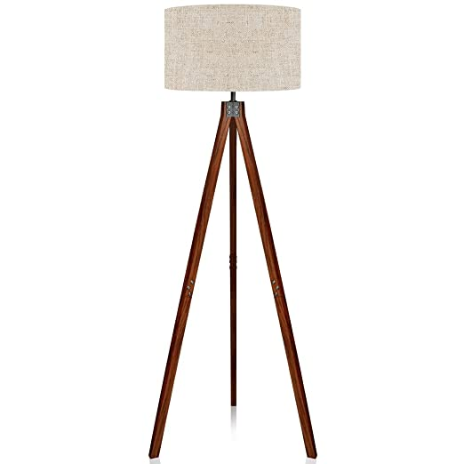 Lepower Wood Tripod Floor Lamp Flaxen Lamp Shade With E26 Lamp Base Modern Design Reading Light For Living Room Bedroom Study Room And Office