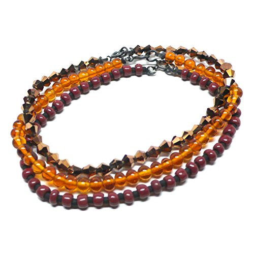 - Set of 3 Stacking Bracelets Oxidized Sterling Silver Brown Amber-Color Copper Glass 7.5 Inches