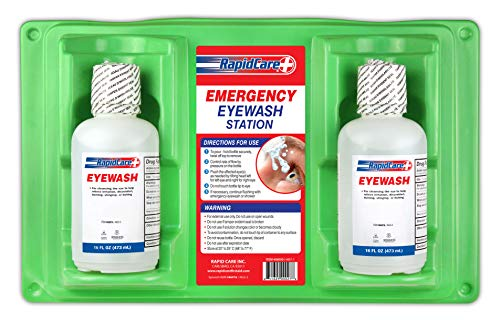 """Rapid Care First Aid 8000 Eye Wash Station, FDA Compliant, Wall Mountable, 2 x 16 oz Sterile Isotonic Eye Wash Bottles, 17"""" x 10 3/8"""" x 3 1/2"""""""