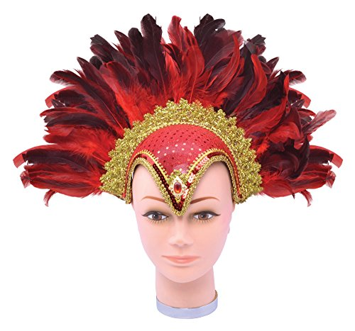 (Red Feather Helmet With Jewel &)