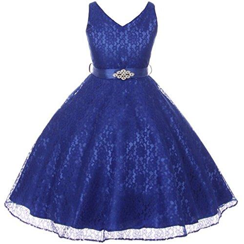 Big Girls Fabulous Full Lace V-Neck Dress Rhinestone Brooch Flower Girl Dress Royal Blue - Size 16