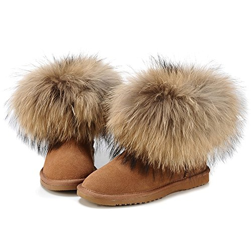Boots Boots Bootie Boots Brown Casual Round Lining Booties Camel Snow Leather Women's Shoes Fluff for HSXZ Winter Closed Toe Flat ZHZNVX Toe Ankle Feather x4qfvSUv