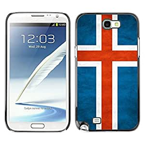 Shell-Star ( National Flag Series-Iceland ) Snap On Hard Protective Case For Samsung Galaxy Note 2 II / N7100