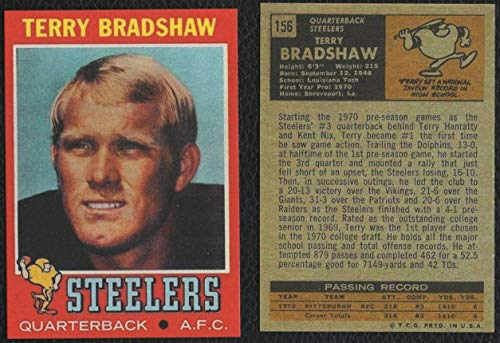 1971 Topps #156 TERRY BRADSHAW Rookie Card Pittsburgh Steelers REPRINT - Football Card