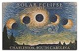 Lantern Press Charleston, South Carolina - Solar Eclipse 2017 - Starry Night (10x15 Wood Wall Sign, Wall Decor Ready to Hang)