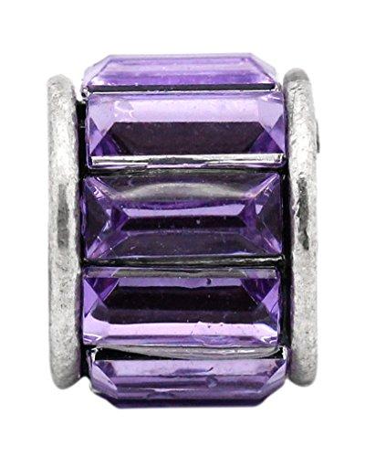 Godagoda Couleur Argent Vieilli Perles Europeennes avec Strass Violet pour Bracelet Lot de 10pcs