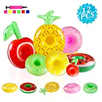 TIANSS 12 Pack Drink Floats Cute Fruit Pool Drink Holder Set Reusable Inflatable Float Cup Coasters for Summer Pool Party,2 Green Lemon,2 Yellow Lemon,2 Cherry,2 Pineapple,2 Donuts,2 watermelon,1 Free Air Pump