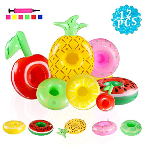 TIANSS 12PCS Inflatable Drink Holders Inflatable Cup Coasters Supplies Toys Pineapple Fruits Cup Holders for Summer Water Fun Kids Bath Toys and Pool Party (with Free AIR Pump)