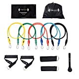 FITMYFAVO Resistance Bands Set with Stackable Resistance Bands,Door Anchor,Ankle Straps,Foam Handles & Exercise Guide and Exercise Bands Carry Case For Sale