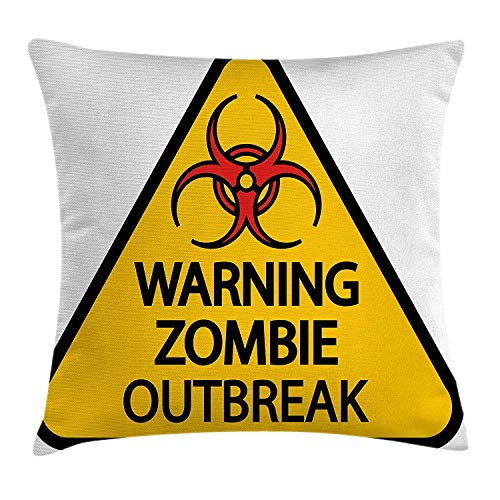 Zombie Decor Throw Pillow Cushion Cover, Warning Zombie Outbreak Sign Cemetery Infection Halloween Graphic, Decorative Square Accent Pillow Case, 18 X 18 inches, Earth Yellow Red Black for $<!--$3.48-->