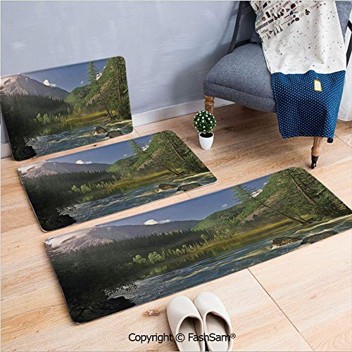 FashSam 3 Piece Non Slip Flannel Door Mat Mountain Lake West Siberia Altai Mountains Katun Ridge Alpine Forest Morning View Indoor Carpet for Bath Kitchen(W15.7xL23.6 by W19.6xL31.5 by W15.7xL39.4)