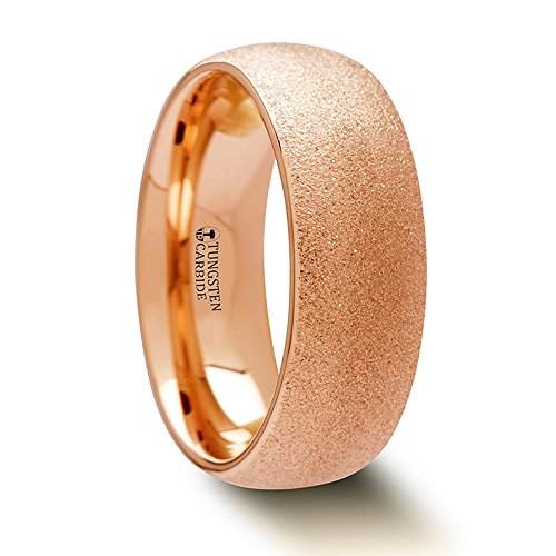 EMBER Domed Tungsten Carbide Ring with Rose Gold Plating and Sandblasted Crystalline Finish - 8mm