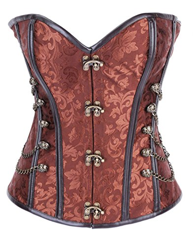 Women Steampunk Corset and bustier for Holloween Party dress with Chain body shaper Coffee