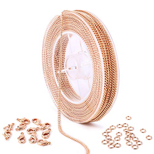 - 33 Feet Rose Gold Plated Solid Brass Curb Link Chain Roll Bulk for Craft DIY Necklace Jewelry Making (Rose Gold)