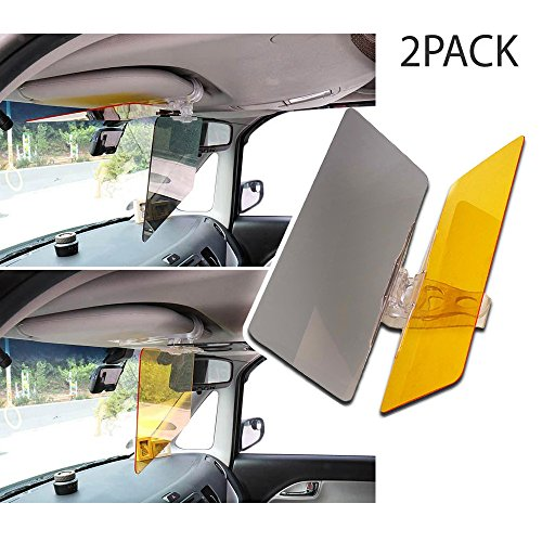 Red Shield Visor - RED SHIELD Universal Car Sun Visor Extender. Transparent, Tinted Shields Day & Night. Reduce Glare from Sunlight & Oncoming Headlights Through Windshield. Drive Safer with Enhanced Visibility. [2 PK]