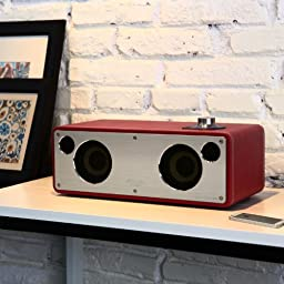 GGMM M-Freedom Wireless Plug-n-Play Built-in WiFi Home Audio Leather Speaker (Compatible with Apple Products)| 30W Output, Supports Airplay, DLNA, Spotify, Pandora (Red)