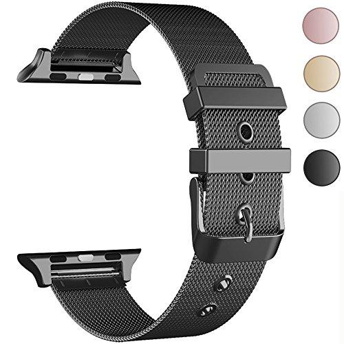 GEOTEL Band Apple Watch 38mm 42mm, Stainless Steel Milanese Loop Adjustable Magnetic Closure Metal iWatch Band Apple Watch Series 3 Series 2 Series 1 (CLASSIC BUCKLE-BLACK, 42MM)