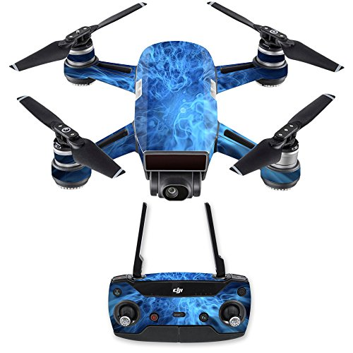 MightySkins Skin for DJI Spark Drone & Controller - Blue Mystic Flames | Protective, Durable, and Unique Vinyl Decal wrap Cover | Easy to Apply, Remove, and Change Styles | Made in The USA