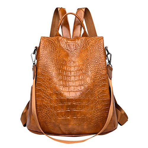 Pengy Woman PU Backpack Crocodile Pattern Large Capacity Bag Casual Versatile Shoulder Handbag