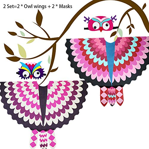 Kids Fairy-Bird-Costume, Feathered-Owl-Wings and Masks for Boys Girls Party-Dress-up Accessory, 2 Pack (Rose-White) ()