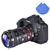 First2savvv XJPJ-CCW-08 red Auto Focus Macro Extension Tube Set for Canon EOS DSLR SLR Lens, Extreme Close-Ups for Canon EOS 1DS Mark II 1DS III 1DX 7D II 5DS 750D 20D + blue Cleaning cloth
