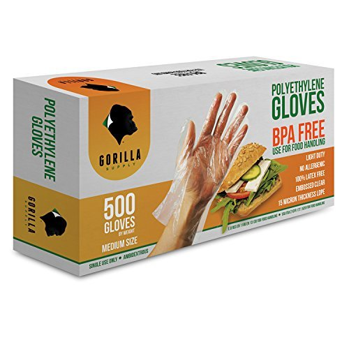 500 BPA Free Disposable Poly PE Gloves Medium, Food Grade 51pl4ZvQXEL