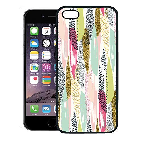 Brushstroke Stripe - Semtomn Phone Case for iPhone 8 Plus case,Watercolor Pattern Brush Strokes and Stripes Hand Black Gold White Pink Green Blue Colors Geometric iPhone 7 Plus case Cover,Black