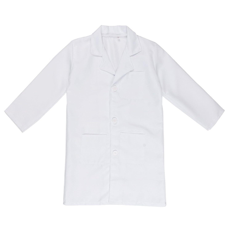 IEFIEL Bata Blanca Cosplay Uniforme de Laboratorio Disfraz de Doctor Enfermera Abrigo Chaqueta para Niño Niña