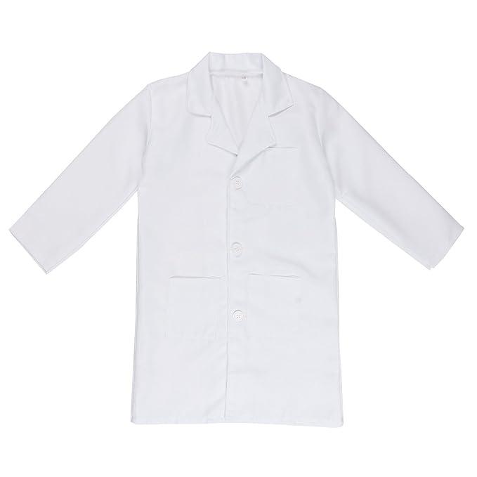 IEFIEL Bata Blanca Cosplay Uniforme de Laboratorio Disfraz de Doctor Enfermera Abrigo Chaqueta para Niño Niña Unisex: Amazon.es: Ropa y accesorios
