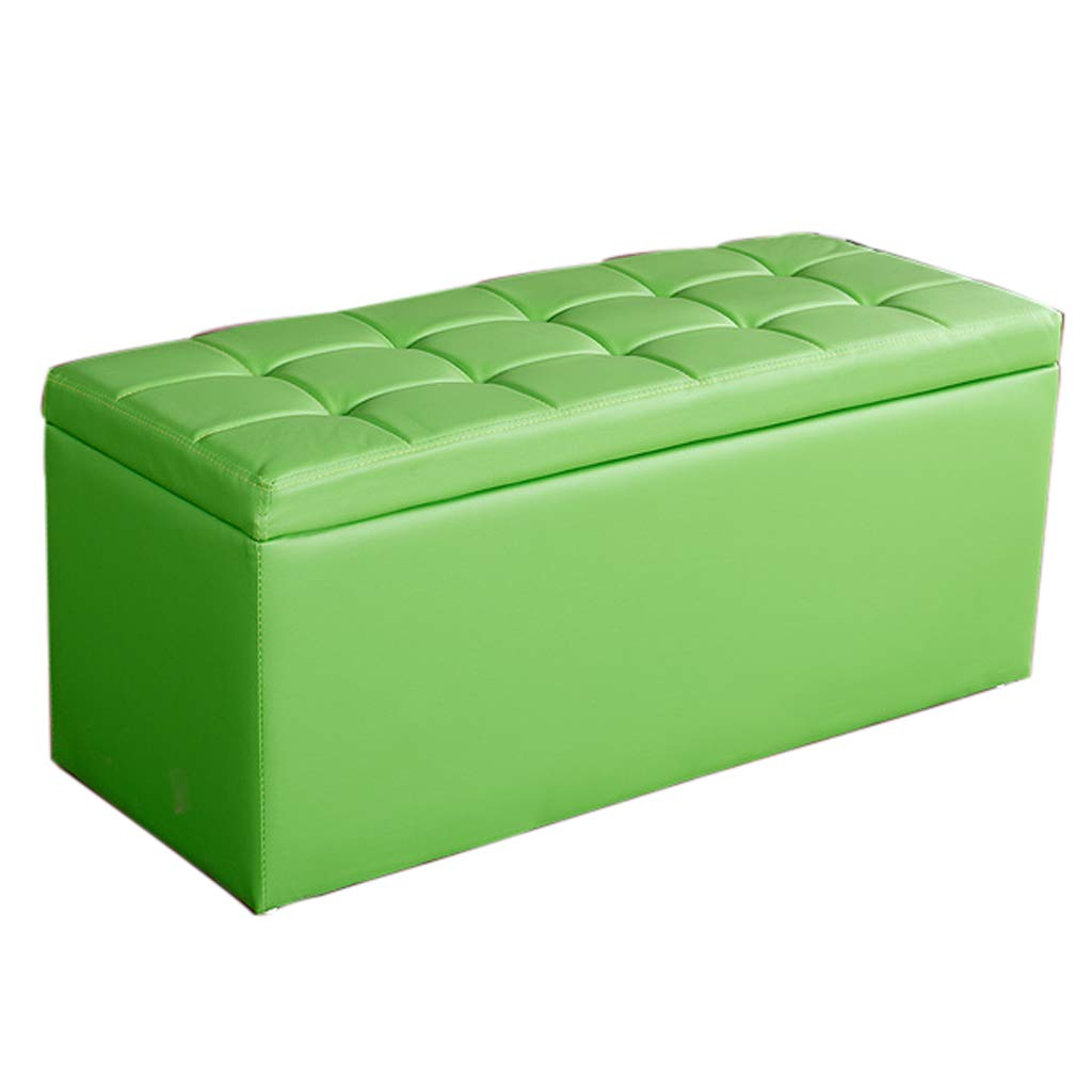 Green L-60CM Storage Stool - Home Multi-Function Long Storage Stool A Variety of colors Can Choose to Sit on The Sofa Leather Bench Long Footstool MENA UK (color   RED, Size   L-60CM)