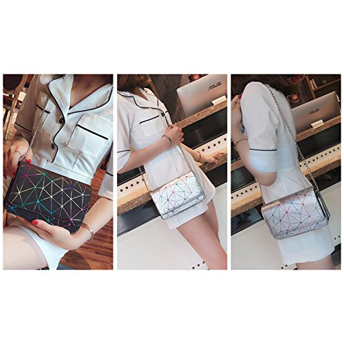 NOTAG Women Leather PU Geometric Chain Fashion Body Bag Shoulder Cross Black Bag Bag Messenger Casual A4Awx1qar