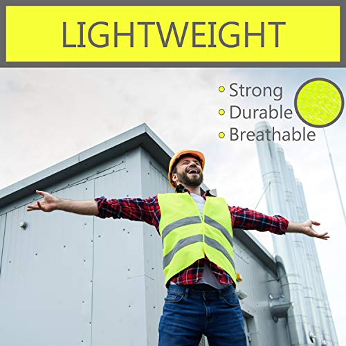Pack of 20 Bright Construction Vests Yellow Safety Reflector Vests bulk, with Visibility Strip, Perfect for Warehouses, Traffic and Parking Patrol by Upper Midland Products by Upper Midland Products (Image #4)