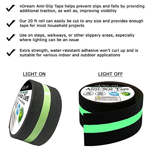 Anti Slip Tape with Glow in The Dark Safety Strip - 1 Roll 19.7 ft x 2 in, 80 Grit Non-Slip High Traction Abrasive, Perfect Grip for Stairs & Steps, Indoor & Outdoor Use, Easy Installation by nDream (Image #1)