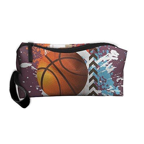 Advertising Poster Of Basketball Zipper Closure 3D Printing Pencil Pen Case Cosmetic Makeup Bag Travel Bag Tote For Women (Advertising Printing)