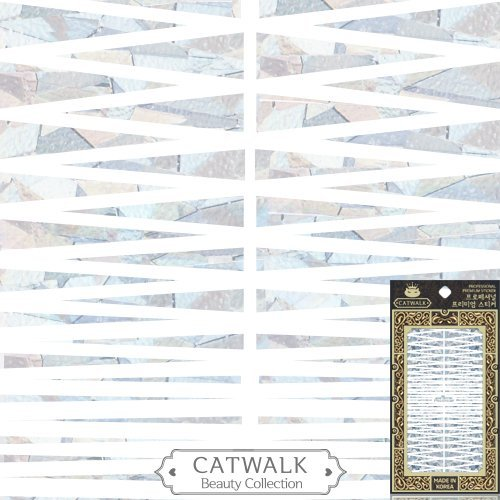 Catwalk Premium Peel-N-Stick Holographic Nail Stickers (Silver Triangle Strips Metallic) - Holographic Peel