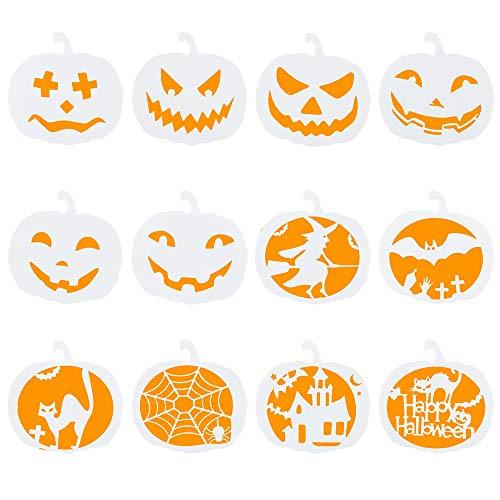 Biubee 12pcs Halloween Pumpkin Theme Stencils Set- Plastic DIY Decorative Drawing Templates Reusable for Card Craft Painting Spraying on Door Window Car Wood Airbrush Wall Art Journaling Scrapbooking