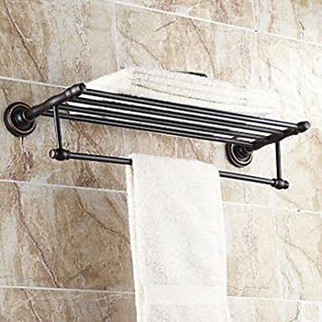 Amazoncom Ling At Oil Rubbed Bronze Bathroom Shelf With Towel Bar