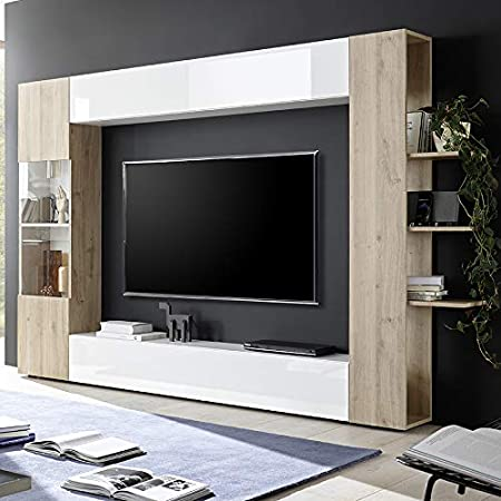 Kasalinea Soprano 3 - Mueble para televisor de Pared, Color Blanco y Roble: Amazon.es: Hogar