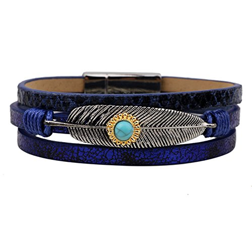 Roman Slave Costumes (Winter's Secret Turquoise Alloy Feather Pattern Hand Braided Blue Leather Wrap the Magnet Clasp Bracelet)