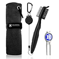 "Handy Picks Microfiber Golf Towel (16"" X 16"") with Carabiner, Club Brush, Golf Divot Repair Tool with Ball Marker - Golf Accessories, Ideal for Golfers - 3 in 1 Golf Cleaning Kit"