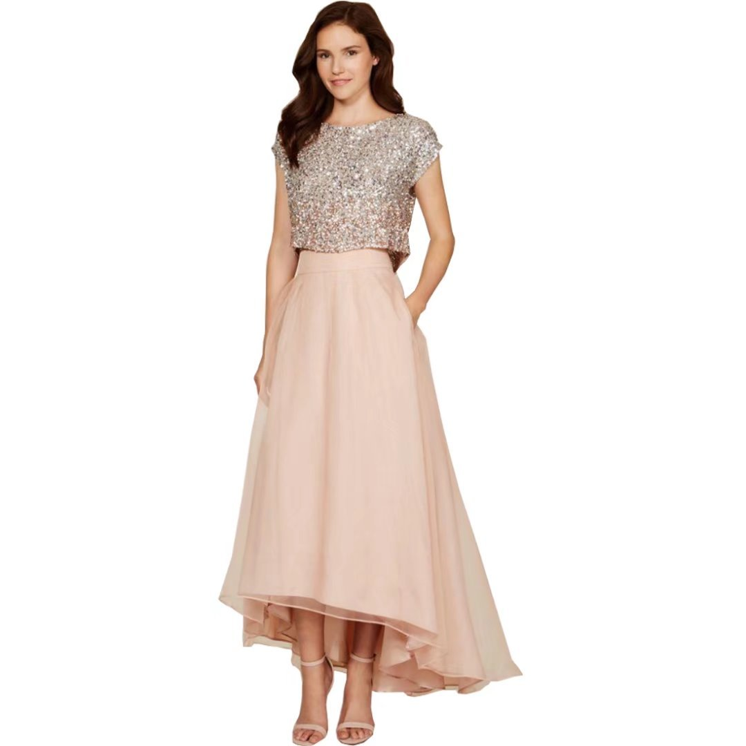 525c40ef282 DingDingMail Sparkly Two Pieces Sequins Top Vintage Tea Length Short Prom  Dresses High Low Bridesmaid Dresses with Pockets at Amazon Women s Clothing  store