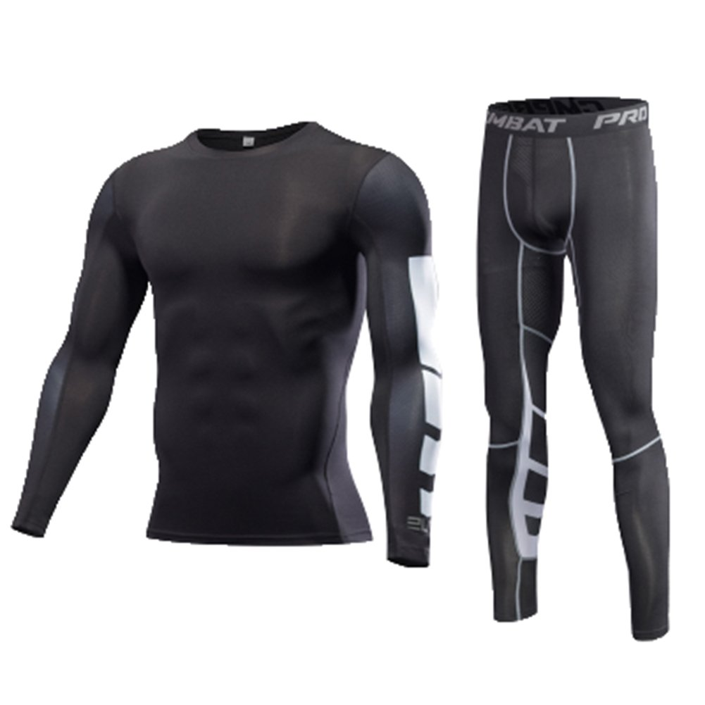 Findci Long Sleeve Shirt Tight Trousers Mens Comfortable Running Sports Compression Suits